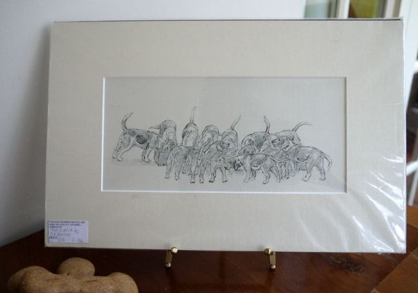 Hounds at feeding trough - H B2 -  1940's print by K F Barker